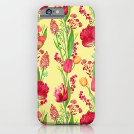 Red Tulips And Irises Floral Pattern on Yellow iPhone Case