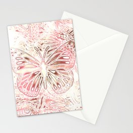 Monarch Butterfly In Pastel Pink Stationery Cards