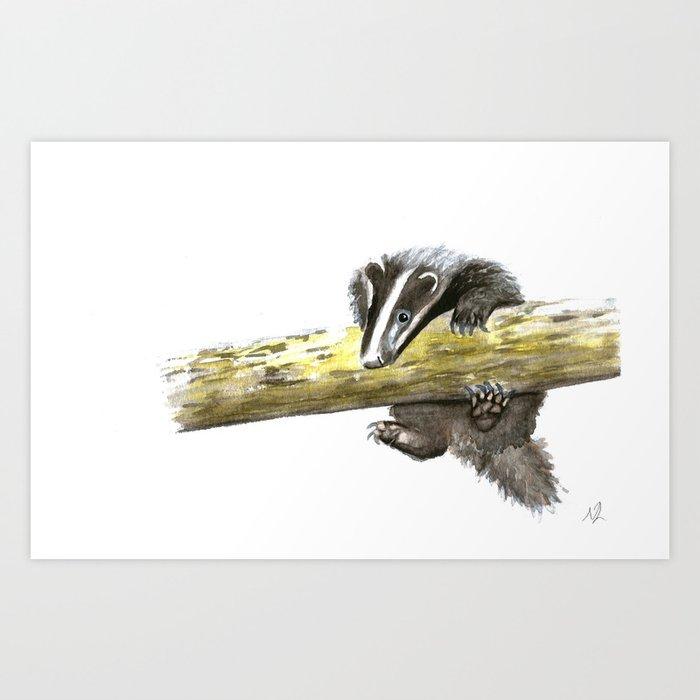 Badger Cub Hanging Around Art Print by scarletwild