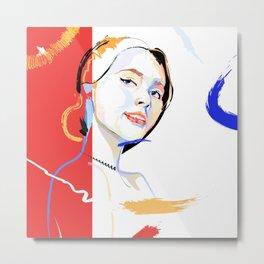 Classic Red. Rad & Inked Portrait Lady Metal Print