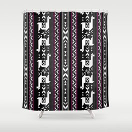 Llamas_Fuchsia stripes Shower Curtain