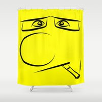 smoking Shower Curtains featuring Smoking Pillow by Rainer Steinke
