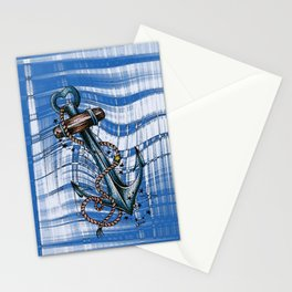 Blue anchor with stars Stationery Cards