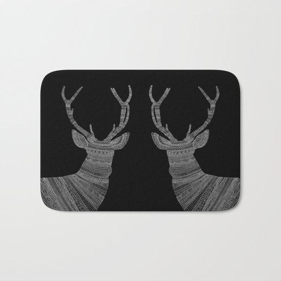 Stag / Deer (On Black) Bath Mat