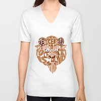 beauty and the beast V-neck T-shirts featuring beast by Rebecca McGoran