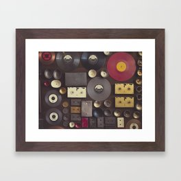 Music. Vintage wall with vinyl records and audio cassettes hung. Framed Art Print