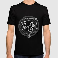 dont worry Black Mens Fitted Tee MEDIUM