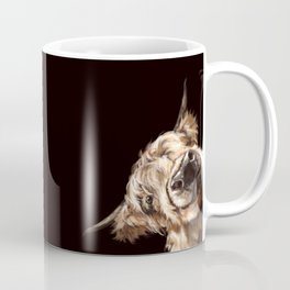 Sneaky Highland Cow in Black Coffee Mug