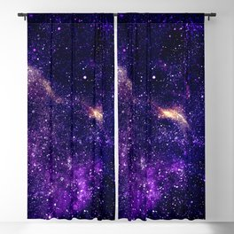 Ultra violet purple abstract galaxy Blackout Curtain