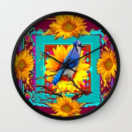 Decorative Ornate  Burgundy-Blue Jay Sunflowers Wall Clock