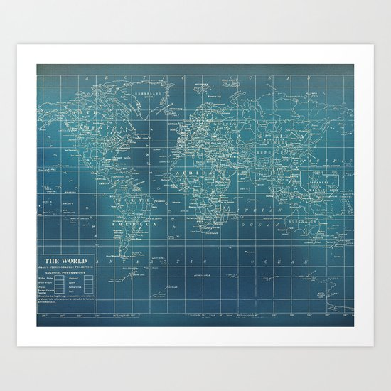 Grunge World Map Art Print