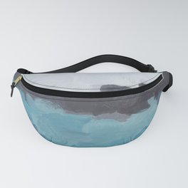 Aqua, Turquoise, Charcoal, Abstract Wall Art Ocean Painting Print, Blue Water, Modern Wall Art Fanny Pack