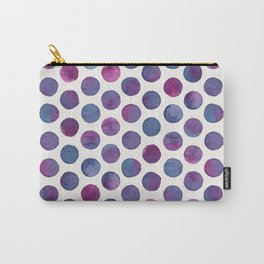 Watercolor Polka Dots - Inky Maroon Carry-All Pouch