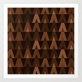 ABSTRACT TRIANGLES | espresso brown Art Print