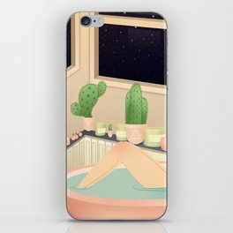 girl taking a relaxing bath under the stars iPhone Skin