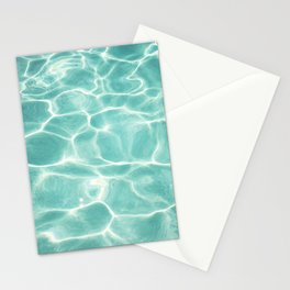 Water Abstract Photography, Teal Ocean, Turquoise Sea, Water Ripple Seascape Stationery Cards