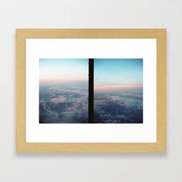 Aerial photo of Boston area - Sunset sky Framed Art Print