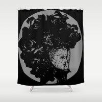 black widow Shower Curtains featuring Black Widow by Wayward Broad Studio