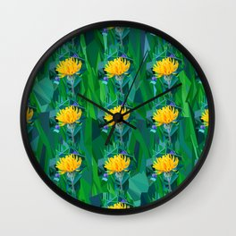 Yellow flower in the grass. Pattern Wall Clock