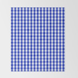 Cobalt Blue and White Gingham Check Plaid Squared Pattern Throw Blanket
