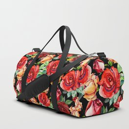 Hand painted black red watercolor roses floral Duffle Bag