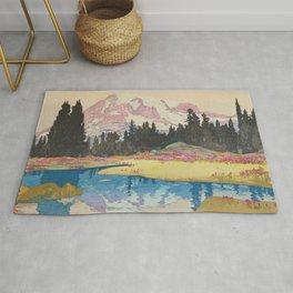 Mount Rainier Vintage Beautiful Japanese Woodblock Print Hiroshi Yoshida Rug