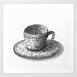 Coffee Cups Collection - #10 Coffee cup - Twirls Art Print