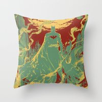 gotham Throw Pillows featuring Gotham Knight by Hai-ning