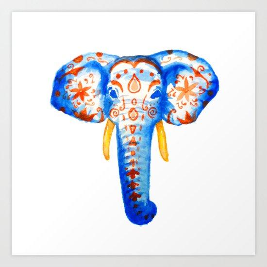 Elephant Watercolor Print Art Print