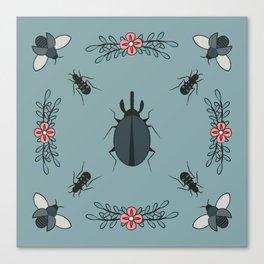 Beetle Flower Prettiness Canvas Print