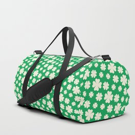 Off-White Four Leaf Clover Pattern with Green Background Duffle Bag