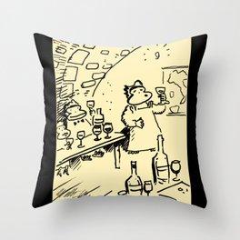 Wine-Tasting Apes Throw Pillow