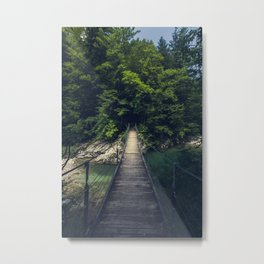 Simple suspension bridge over river Idrijca, Slovenia Metal Print