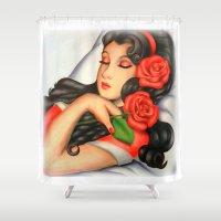 sleeping beauty Shower Curtains featuring Sleeping Beauty by SaranyaKrish