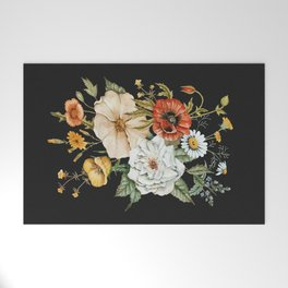 Wildflower Bouquet on Charcoal Welcome Mat