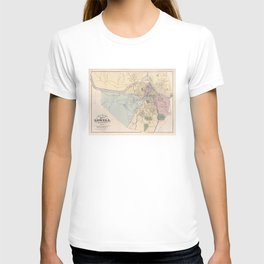 Vintage Map of Lowell MA (1881) T-shirt