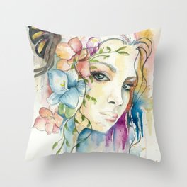 Boho Crystal Woman Throw Pillow