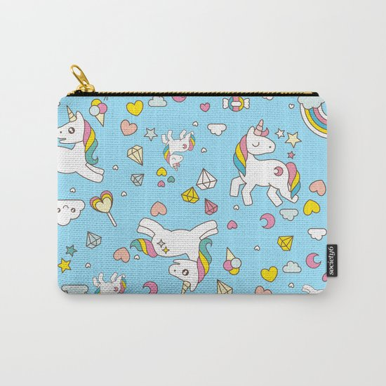 Unicorn Light Blue Pattern Carry-All Pouch