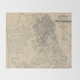 Vintage Map of San Francisco CA (1881) Throw Blanket