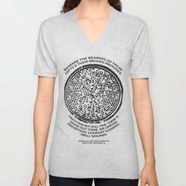 Decoded Crop Circle UFO Alien Message Beware the Bearers of False Gifts UK Unisex V-Neck