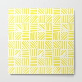 Weave Pattern - Yellow Metal Print