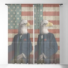 Official Portrait of Senator Silas Eagle Sheer Curtain