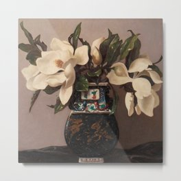 'Vase with Flowers' Still Life by Bruno Croatto Metal Print