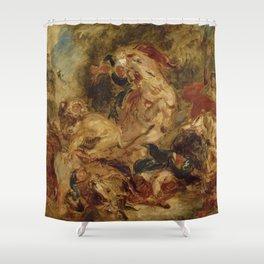 """Eugène Delacroix """"Lion Hunt"""" (1854) Shower Curtain"""