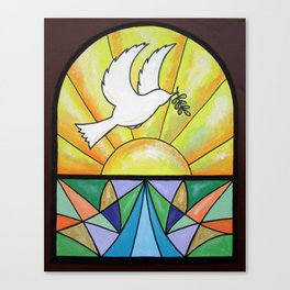 Stained Glass Dove Canvas Print