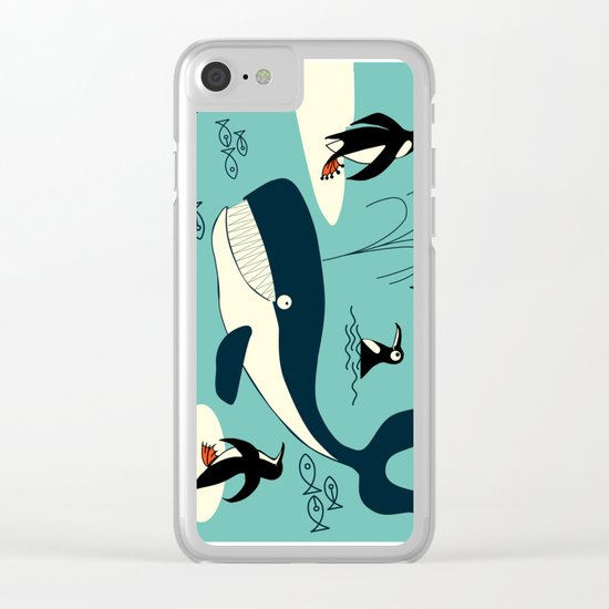 Whales and penguins Clear iPhone Case