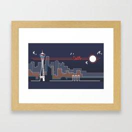 Seattle Skyline // Retroscape Framed Art Print