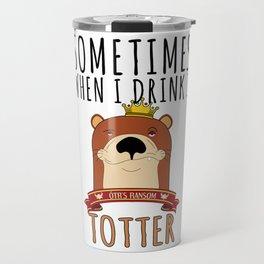 Otter Marten Weasel Wine Drinking Funny Animal Gift Travel Mug