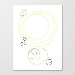 Yellow Abstract Shapes Minimalist Line Drawing Canvas Print
