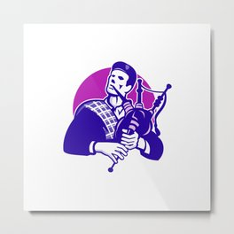 Scotsman Scottish Bagpiper Playing Bagpipes Metal Print